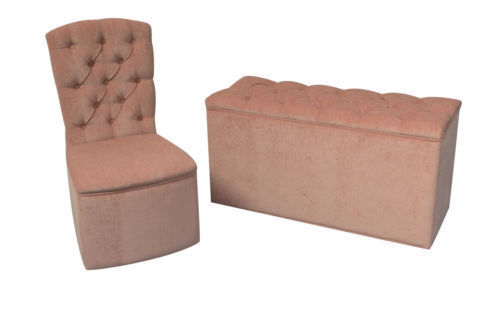 designer bedroom chair ottoman set in pink chenille sleeping partners british made ottomans. Black Bedroom Furniture Sets. Home Design Ideas