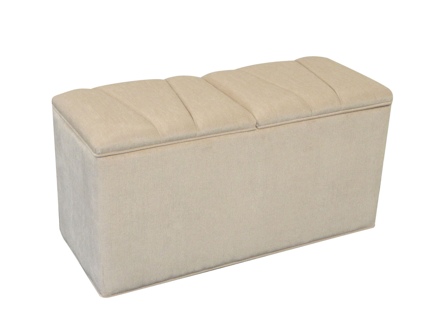 Ottomans Deacon Beige Upholstered Blanket Box: British Made Ottomans, Footstools