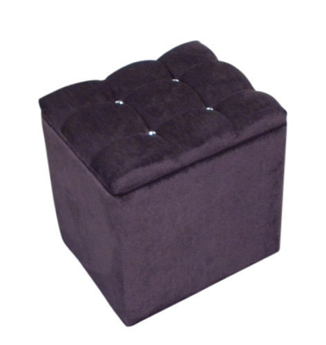 Ottoman Storage Box Blanket Bedding Box Purple Chenille with Diamante Crystals