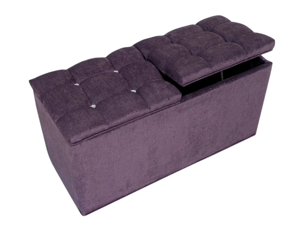 Ottoman Storage Box Blanket Bedding Box Purple Chenille with Diamante  Crystals - Ottoman Storage Box Blanket Bedding Box Purple Chenille With
