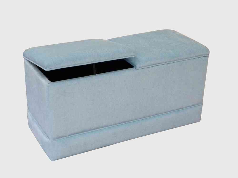 Luxurious Designer Florence Ottoman Storage Box linen storage chest in duck  egg blue twin lid - Luxurious Designer Florence Ottoman Storage Box Linen Storage