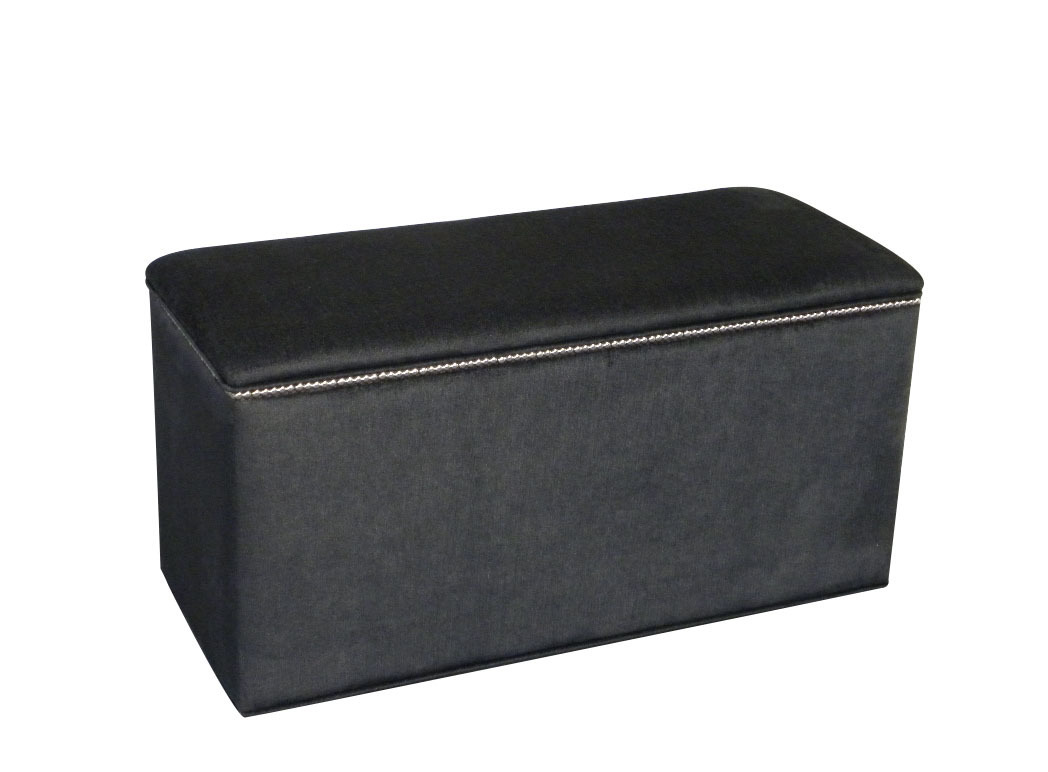 Ottoman Box Storage Box Blanket Bedding Box Black Chenille NEW