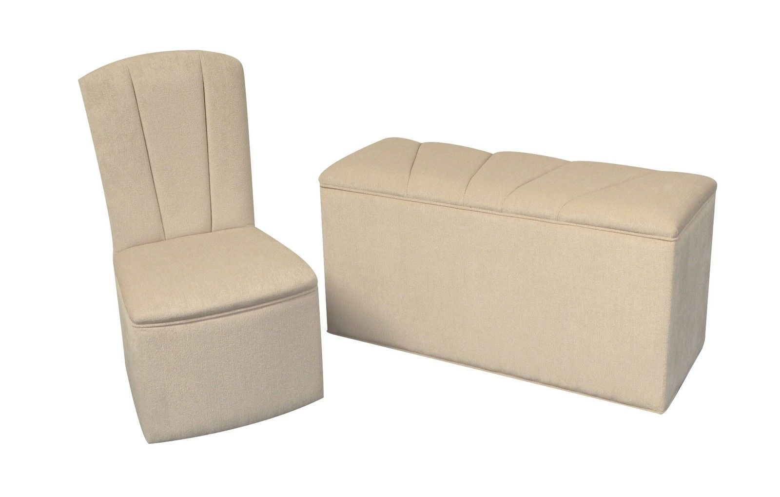 Designer Bedroom Chair/Ottoman Set In Light Beige Chenille
