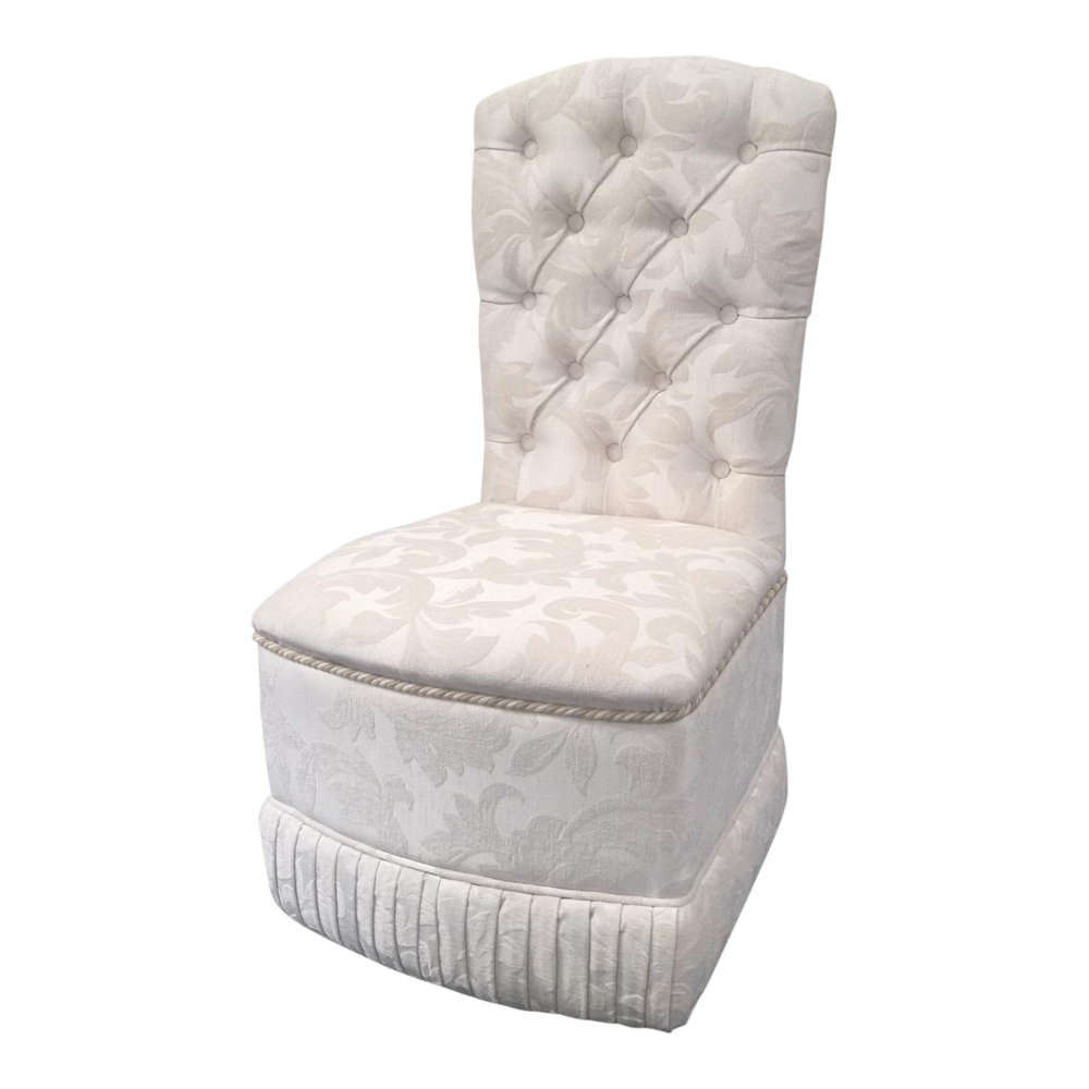 Exceptionnel Designer Chatham Bedroom/Boudoir Chair In Cream/Ivory Damask Fabric Deep  Buttons