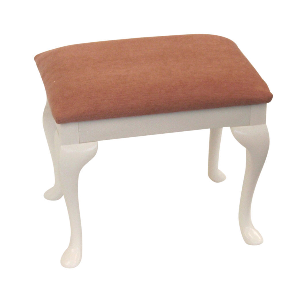 Stool For Bedroom Pink Chenille Top Dressing Table Bedroom Stool With Queen Anne