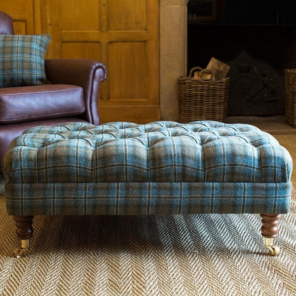 Medium Coffee Table/Footstool Tartan/Tweed Fabric Mahogany Brassed Castors