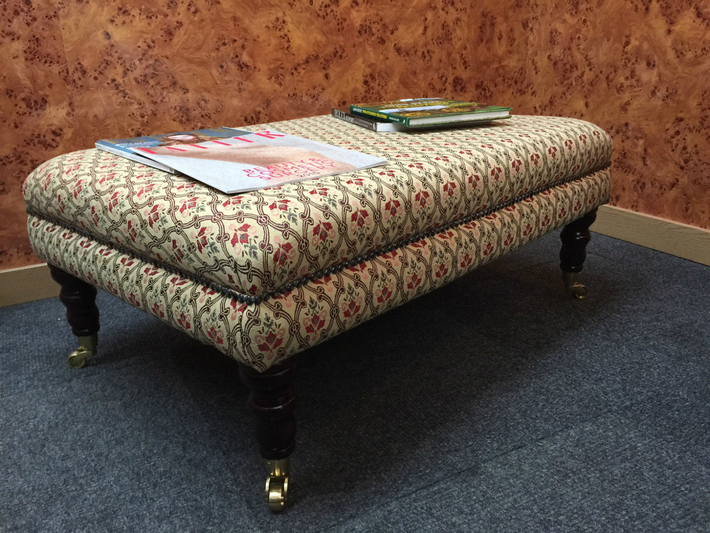 Medium Coffee Table/Footstool in Traditional Tapestry Fabric