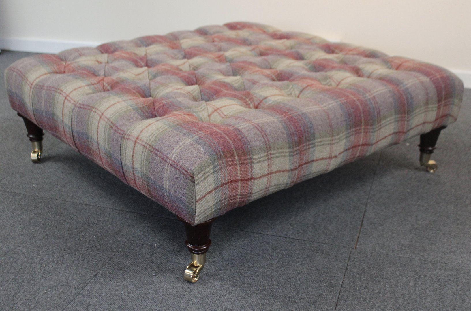 Square Extra Large Coffee Table/ Footstool Tweed/Tartan Fabric