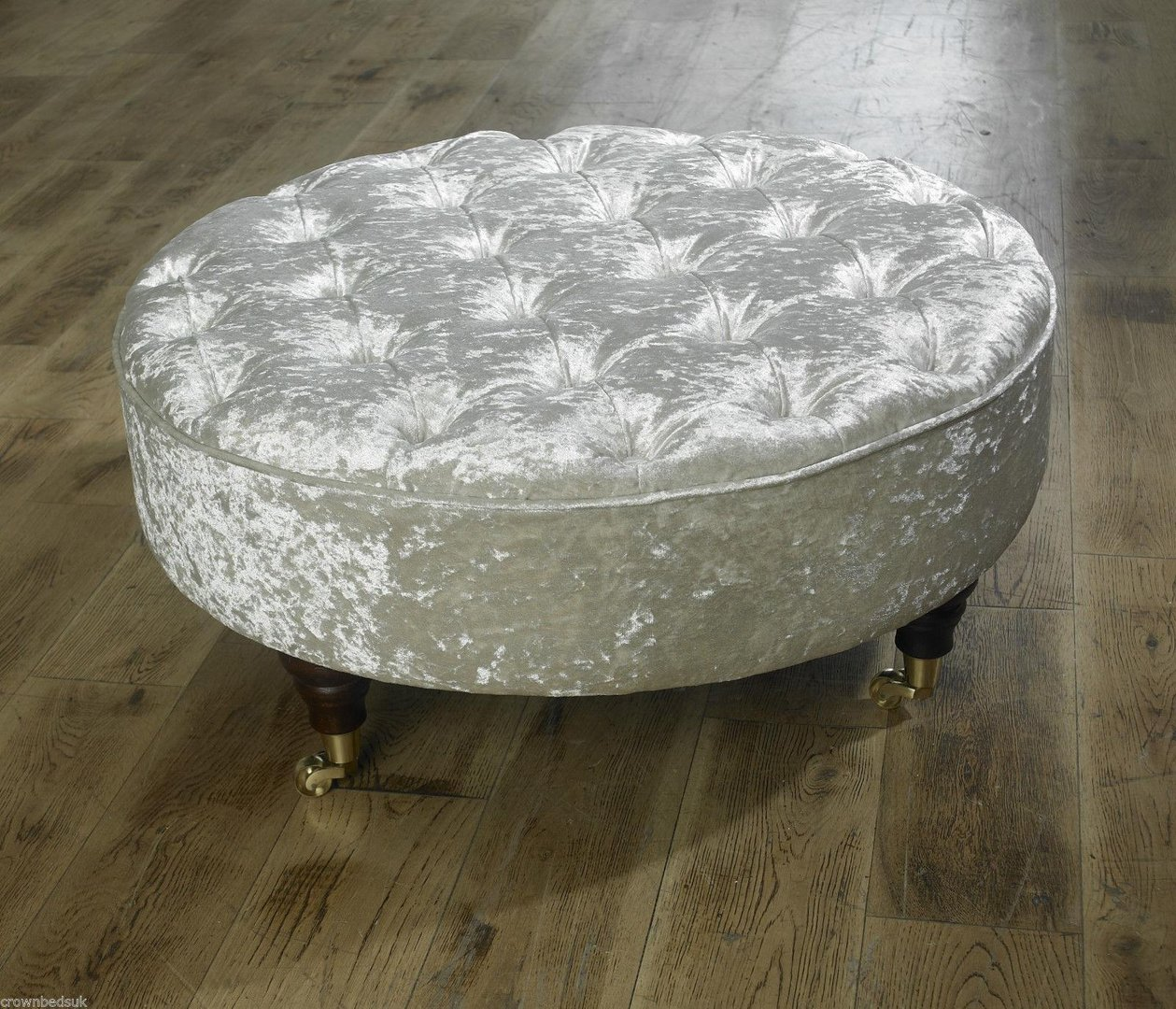 Chesterfield Round Coffee Table/ Footstool Beige Crushed Velvet