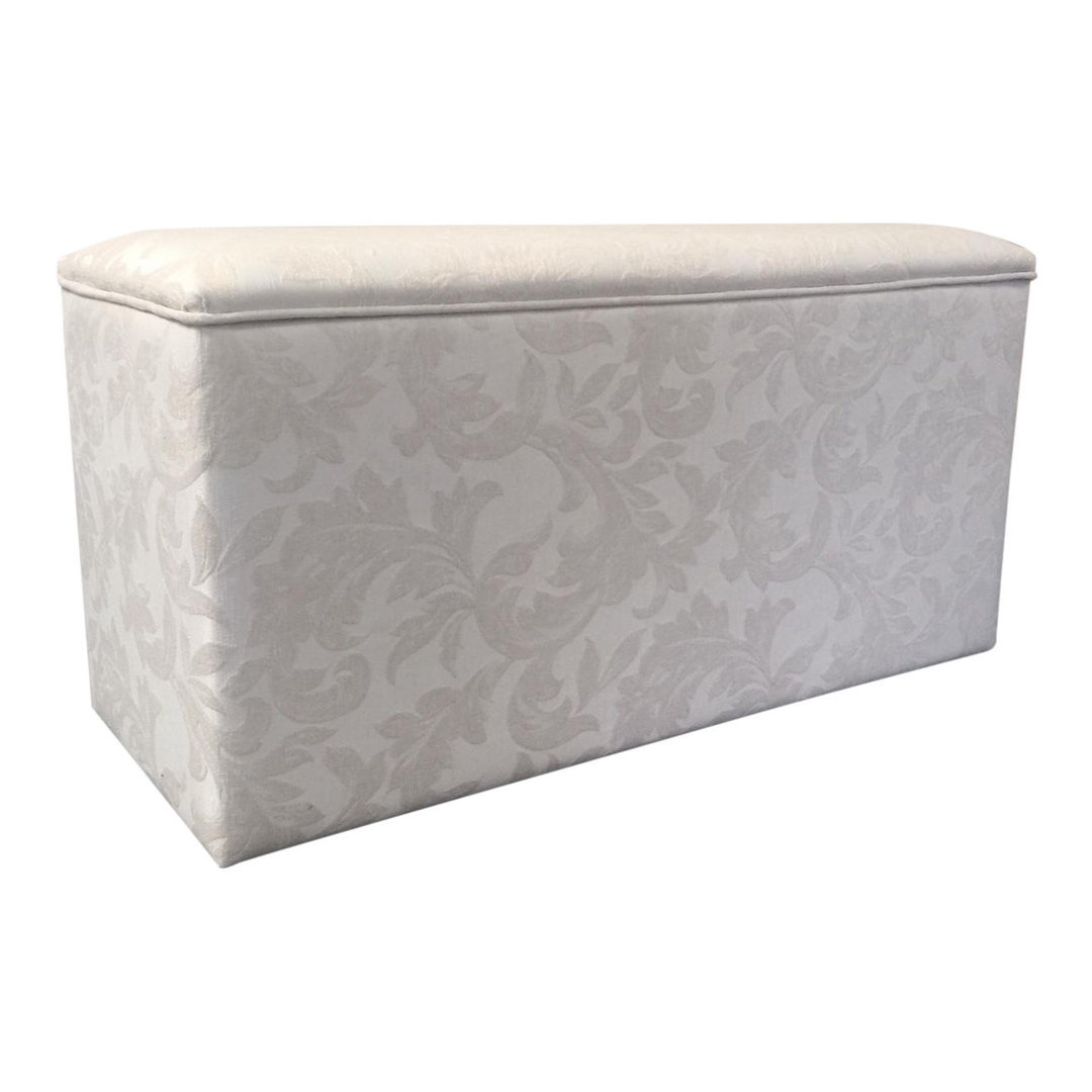 Luxurious Designer Ottoman Storage Box linen storage chest in Cream Damask